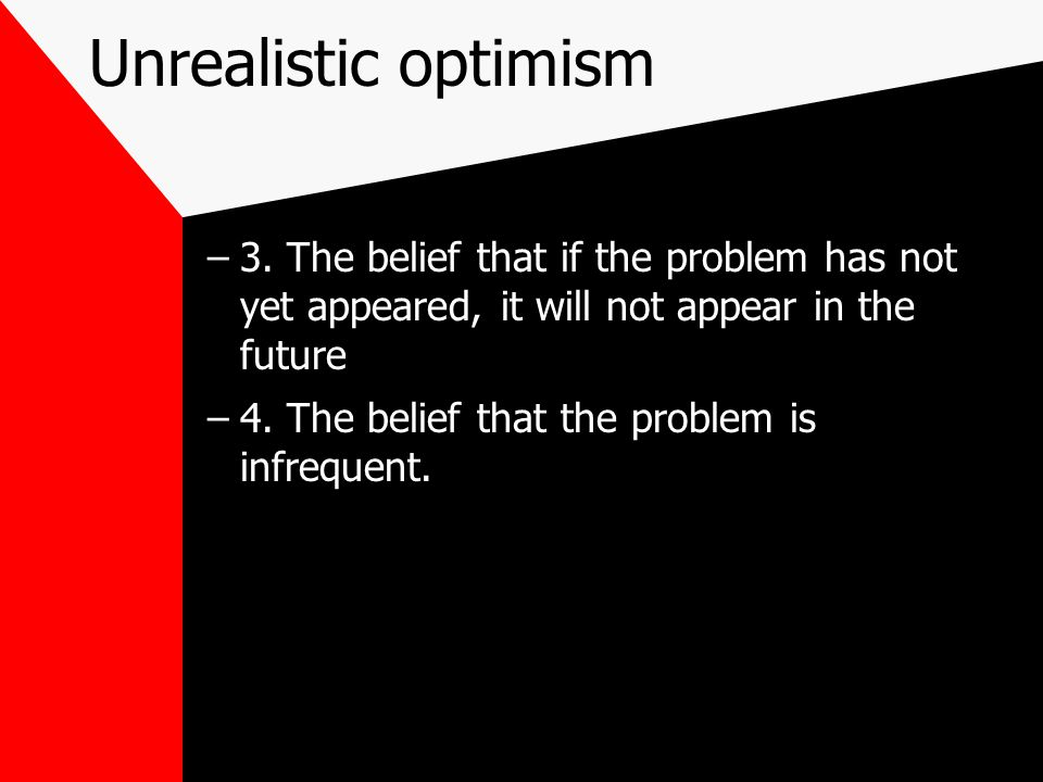 Unrealistic optimism –3.