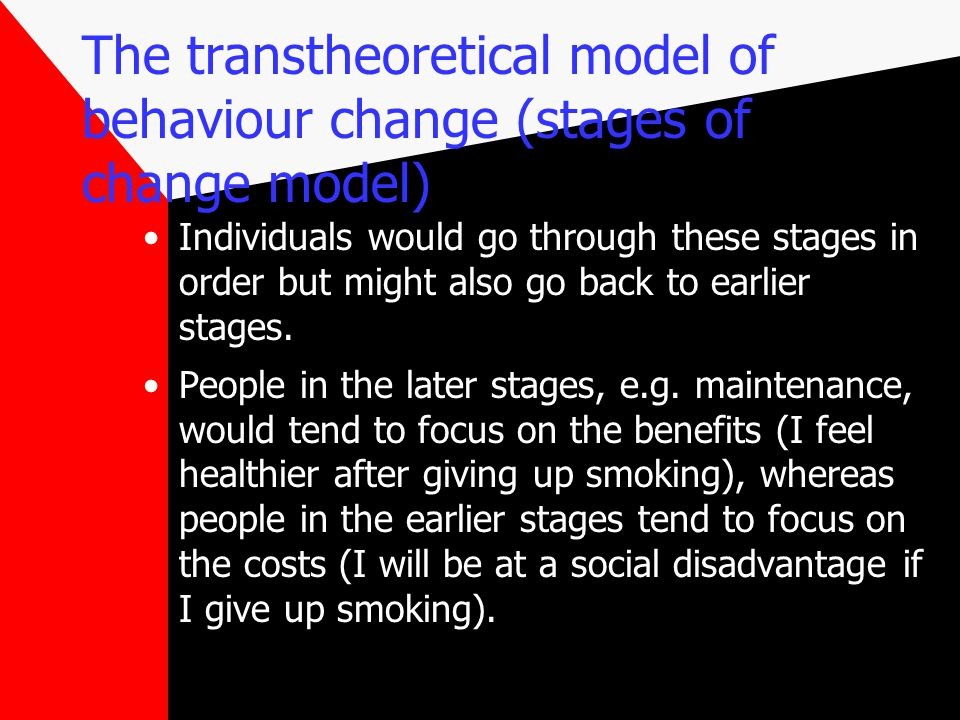 The transtheoretical model of behaviour change (stages of change model) Individuals would go through these stages in order but might also go back to earlier stages.