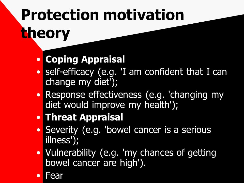 Protection motivation theory Coping Appraisal self-efficacy (e.g.