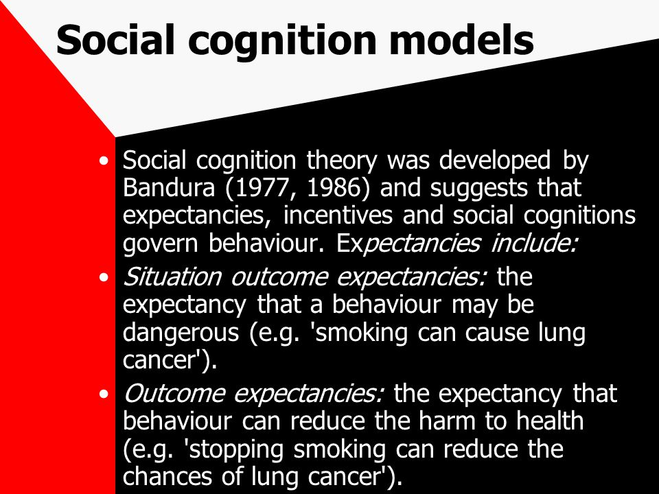 Social cognition models Social cognition theory was developed by Bandura (1977, 1986) and suggests that expectancies, incentives and social cognitions govern behaviour.