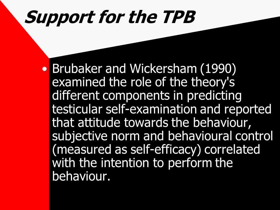 Support for the TPB Brubaker and Wickersham (1990) examined the role of the theory s different components in predicting testicular self-examination and reported that attitude towards the behaviour, subjective norm and behavioural control (measured as self-efficacy) correlated with the intention to perform the behaviour.