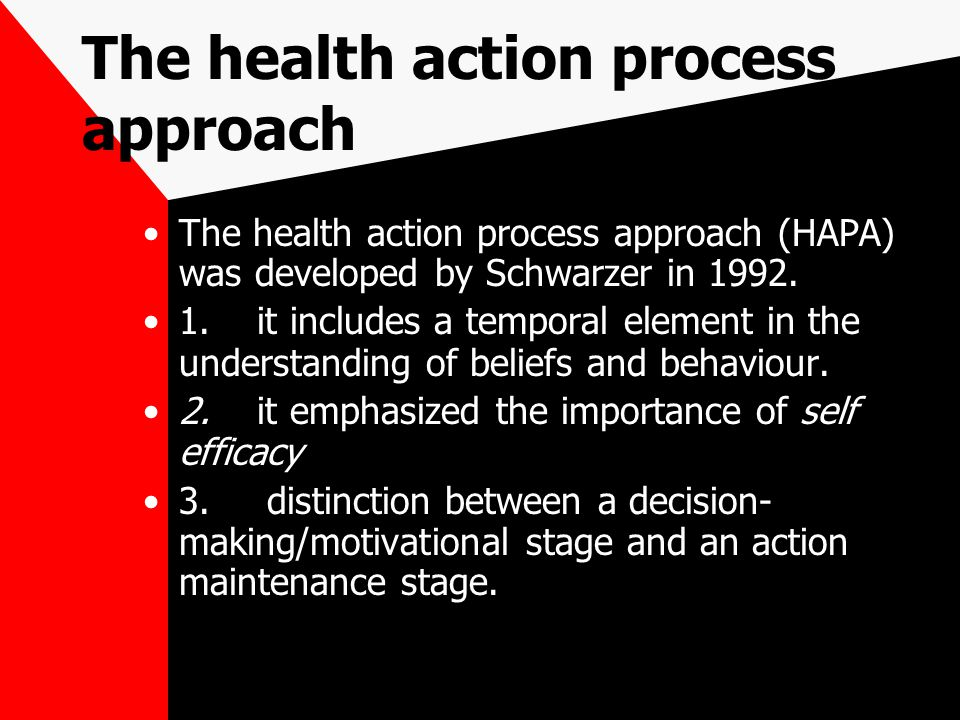The health action process approach (HAPA) was developed by Schwarzer in 1992.