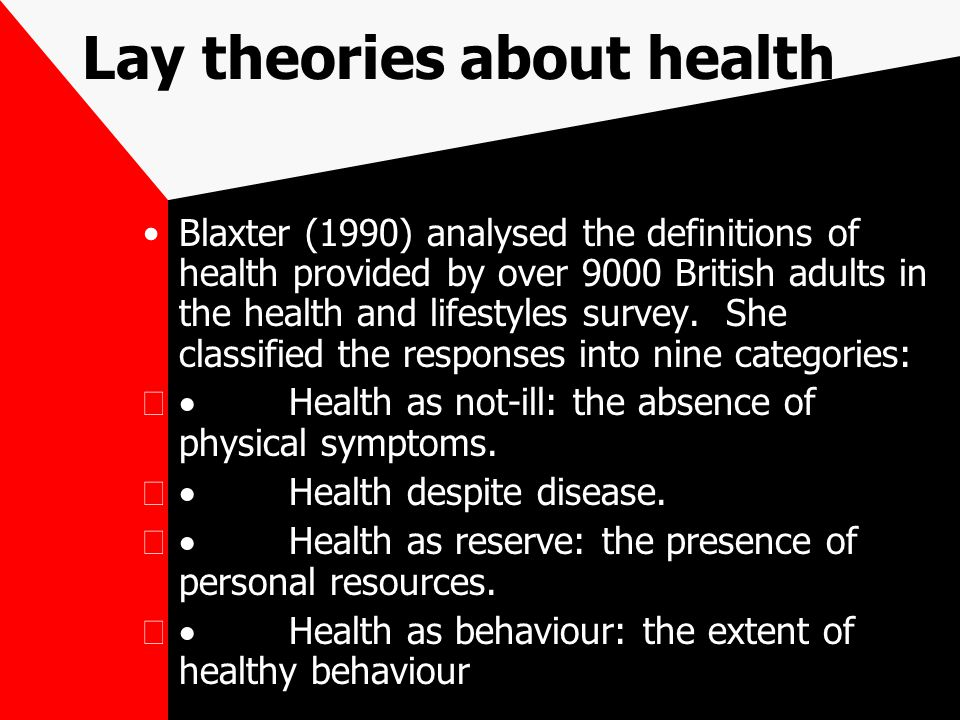 Lay theories about health Blaxter (1990) analysed the definitions of health provided by over 9000 British adults in the health and lifestyles survey.