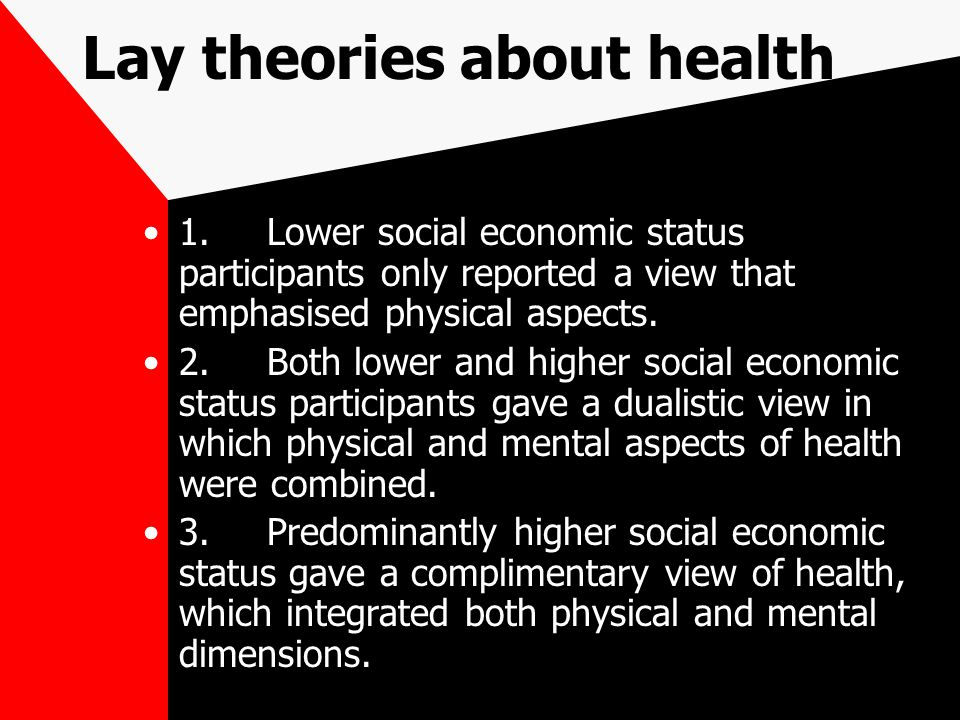 Lay theories about health 1.