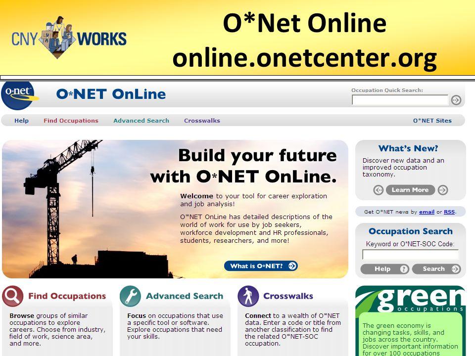 O*Net Online online.onetcenter.org