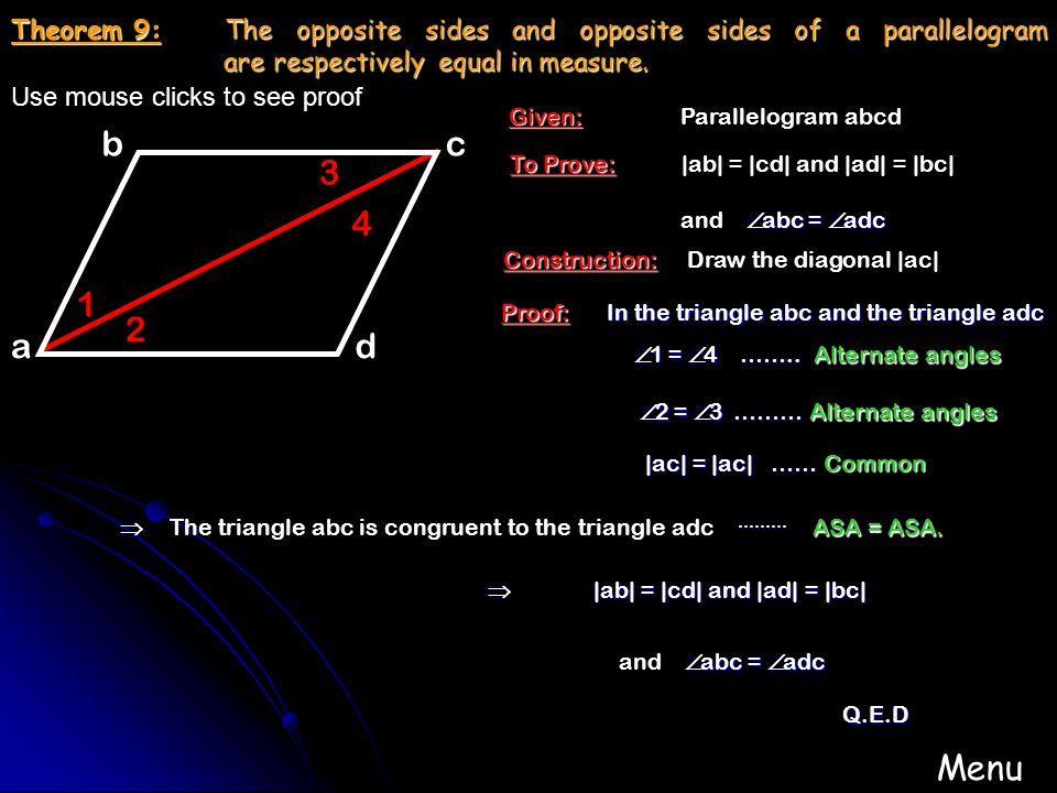 0 180 90 45 135 Theorem 6: An exterior angle of a triangle equals the sum of the two interior opposite angles in measure. opposite angles in measure.