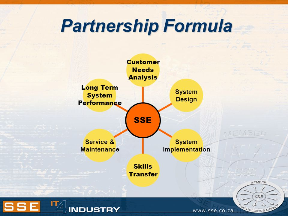 Partnership Formula SSE Customer Needs Analysis System Design System Implementation Skills Transfer Service & Maintenance Long Term System Performance
