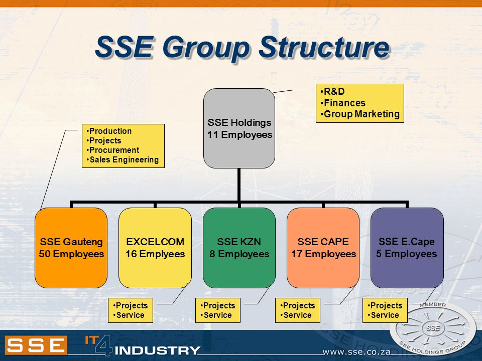 SSE Group Structure SSE Holdings 11 Employees SSE Gauteng 50 Employees EXCELCOM 16 Emplyees SSE KZN 8 Employees SSE CAPE 17 Employees SSE E.Cape 5 Employees R&D Finances Group Marketing Projects Service Projects Service Projects Service Projects Service Production Projects Procurement Sales Engineering