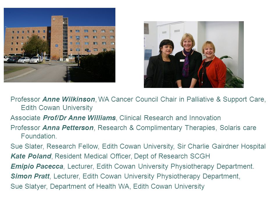 Professor Anne Wilkinson, WA Cancer Council Chair in Palliative & Support Care, Edith Cowan University Associate Prof/Dr Anne Williams, Clinical Research and Innovation Professor Anna Petterson, Research & Complimentary Therapies, Solaris care Foundation.