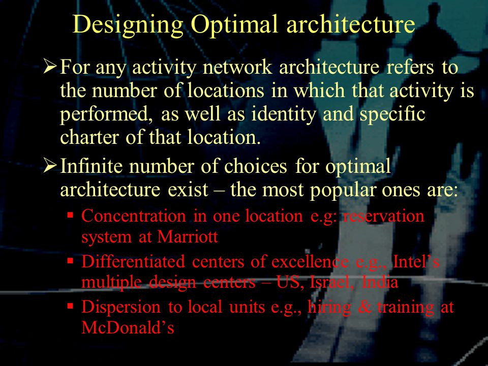 Designing Optimal architecture  For any activity network architecture refers to the number of locations in which that activity is performed, as well as identity and specific charter of that location.