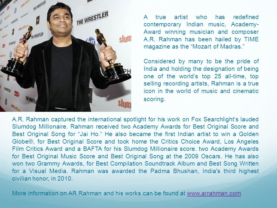 Partnering with the A R Rahman, Jai Ho – The Journey Home 2011 Tour offers sponsors and advertisers unprecedented inroads into the New Delhi NCR region, and, select towns of Uttar Pradesh & Uttarakhand.