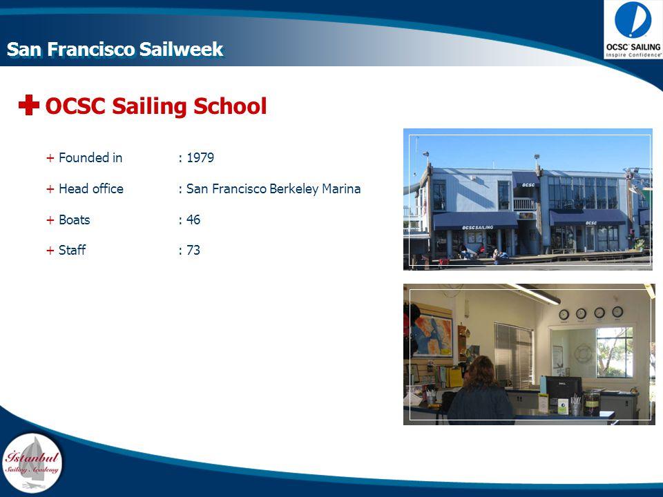 OCSC Sailing School + Founded in : 1979 + Head office: San Francisco Berkeley Marina + Boats : 46 + Staff : 73 San Francisco Sailweek