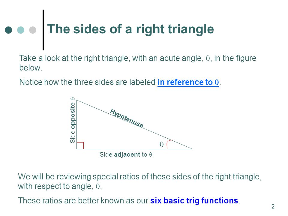 2 Take a look at the right triangle, with an acute angle, , in the figure below.