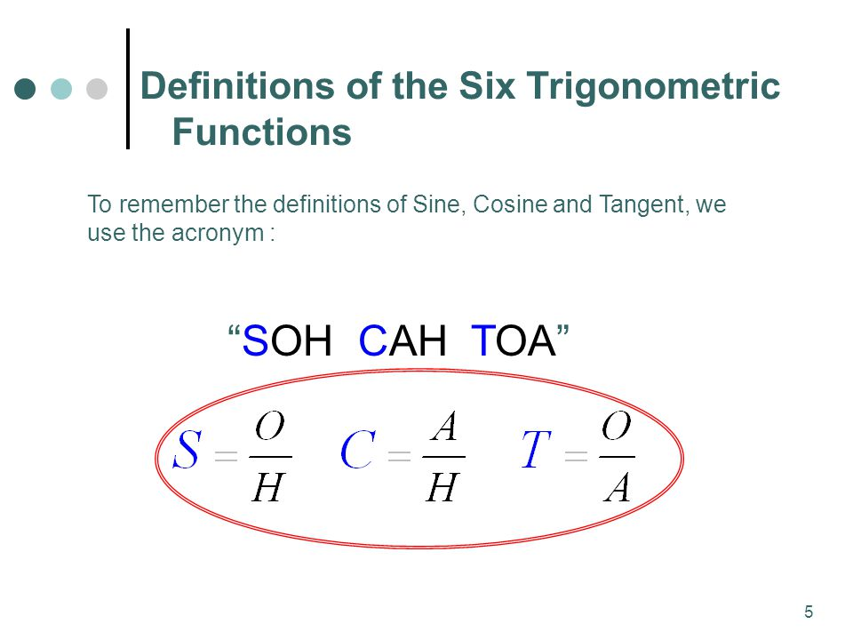 5 To remember the definitions of Sine, Cosine and Tangent, we use the acronym : SOH CAH TOA Definitions of the Six Trigonometric Functions