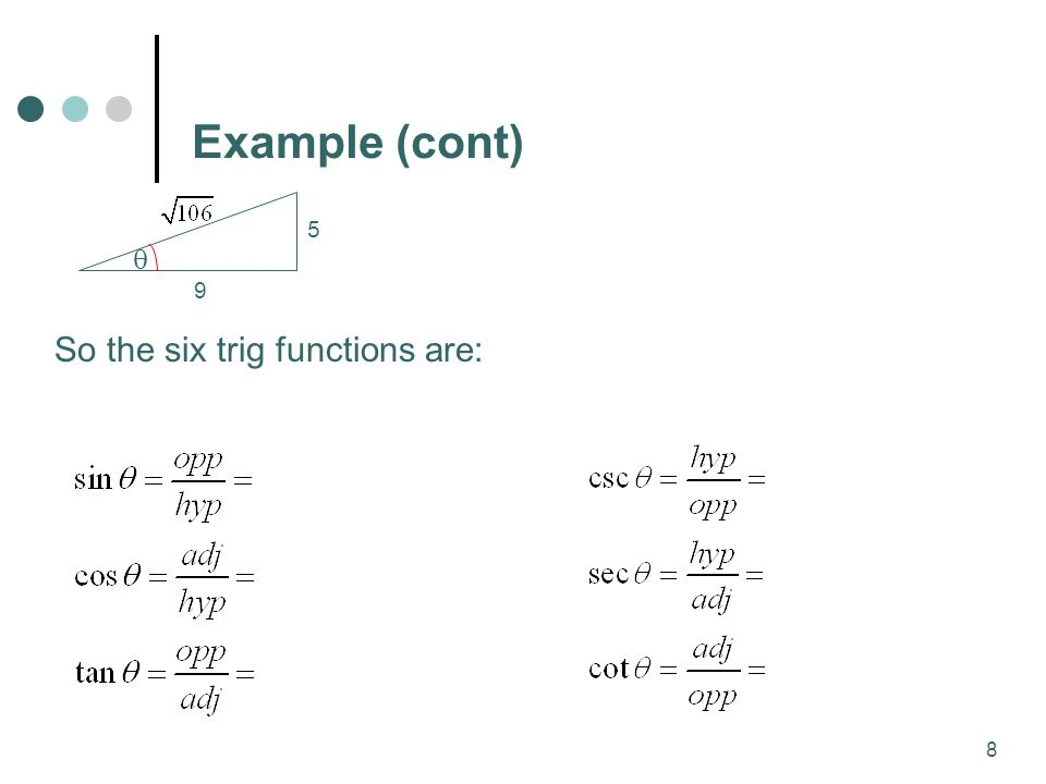 8 Example (cont)  5 9 So the six trig functions are: