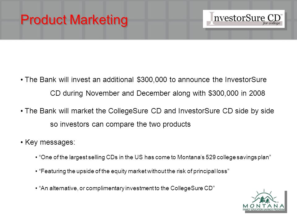 Product Marketing The Bank will invest an additional $300,000 to announce the InvestorSure CD during November and December along with $300,000 in 2008