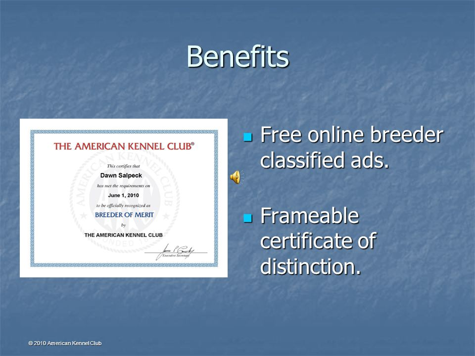 © 2010 American Kennel Club Benefits Complimentary access to online reports.