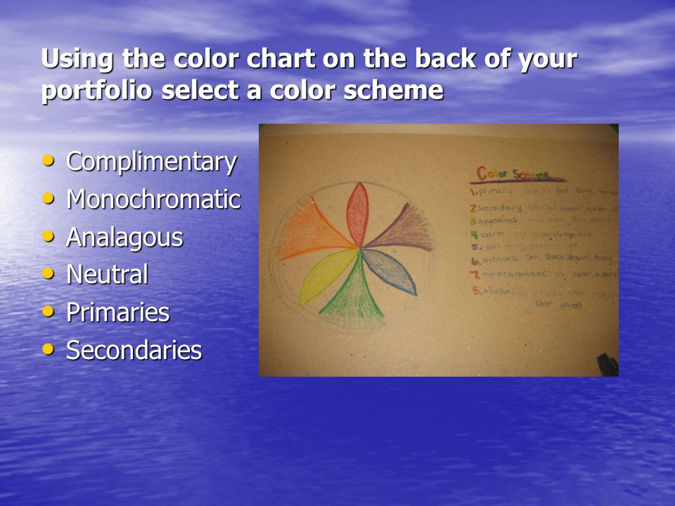Using the color chart on the back of your portfolio select a color scheme Complimentary Complimentary Monochromatic Monochromatic Analagous Analagous Neutral Neutral Primaries Primaries Secondaries Secondaries