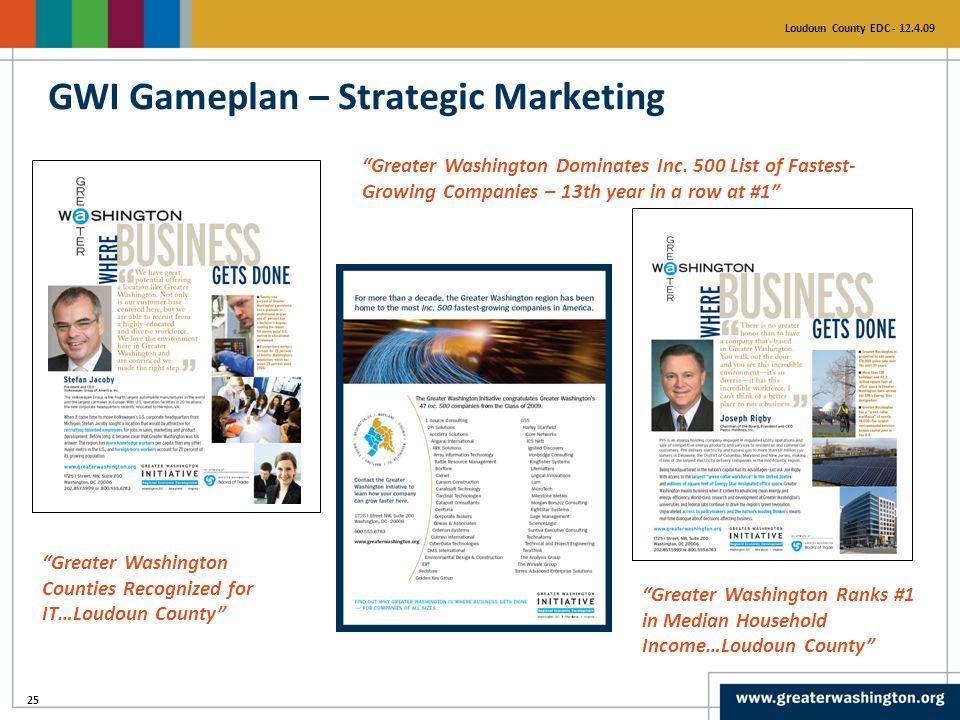 "25 Loudoun County EDC - 12.4.09 GWI Gameplan – Strategic Marketing ""Greater Washington Dominates Inc. 500 List of Fastest- Growing Companies – 13th ye"