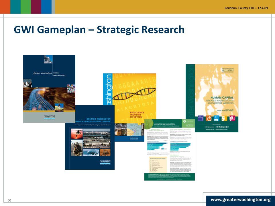 30 Loudoun County EDC - 12.4.09 GWI Gameplan – Strategic Research