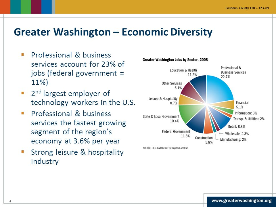 4 Loudoun County EDC - 12.4.09  Professional & business services account for 23% of jobs (federal government = 11%)  2 nd largest employer of technology workers in the U.S.