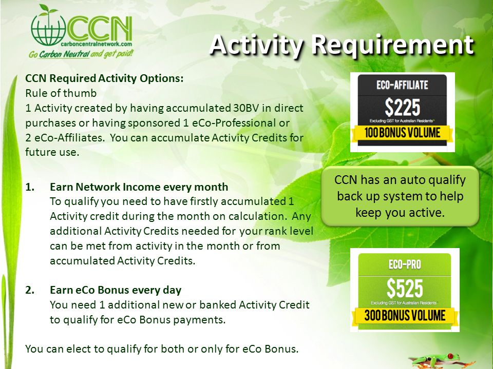CCN Required Activity Options: Rule of thumb 1 Activity created by having accumulated 30BV in direct purchases or having sponsored 1 eCo-Professional or 2 eCo-Affiliates.