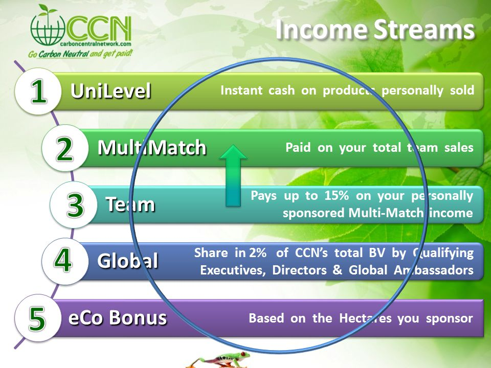 UniLevel MultiMatch Team Global eCo Bonus Instant cash on products personally sold Paid on your total team sales Pays up to 15% on your personally sponsored Multi-Match income Based on the Hectares you sponsor Income Streams Share in 2% of CCN's total BV by Qualifying Executives, Directors & Global Ambassadors