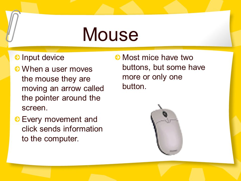 Mouse Input device When a user moves the mouse they are moving an arrow called the pointer around the screen.