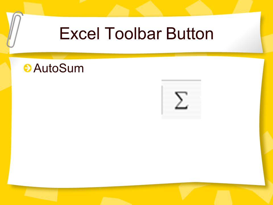 Excel Toolbar Button AutoSum
