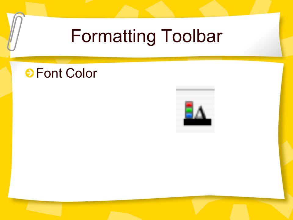 Formatting Toolbar Font Color