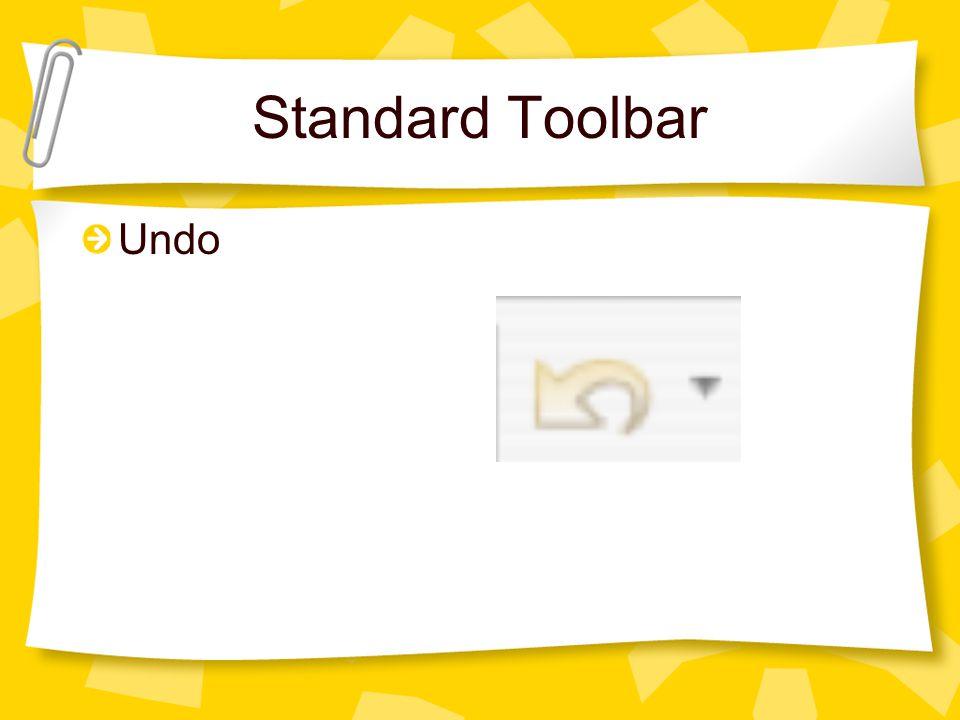 Standard Toolbar Undo