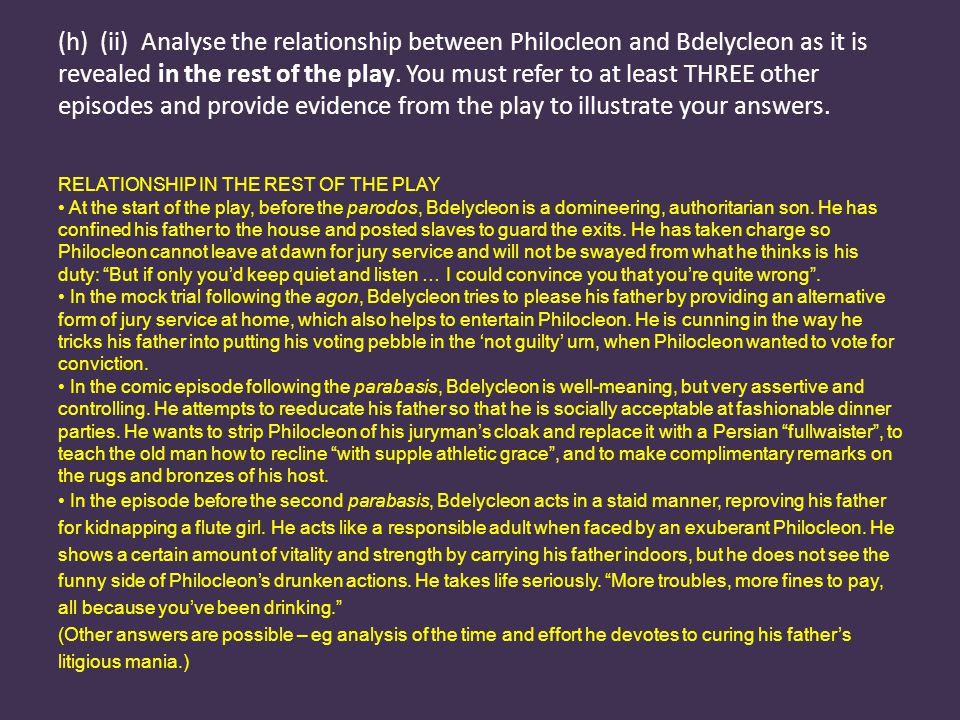 (h) (ii) Analyse the relationship between Philocleon and Bdelycleon as it is revealed in the rest of the play.