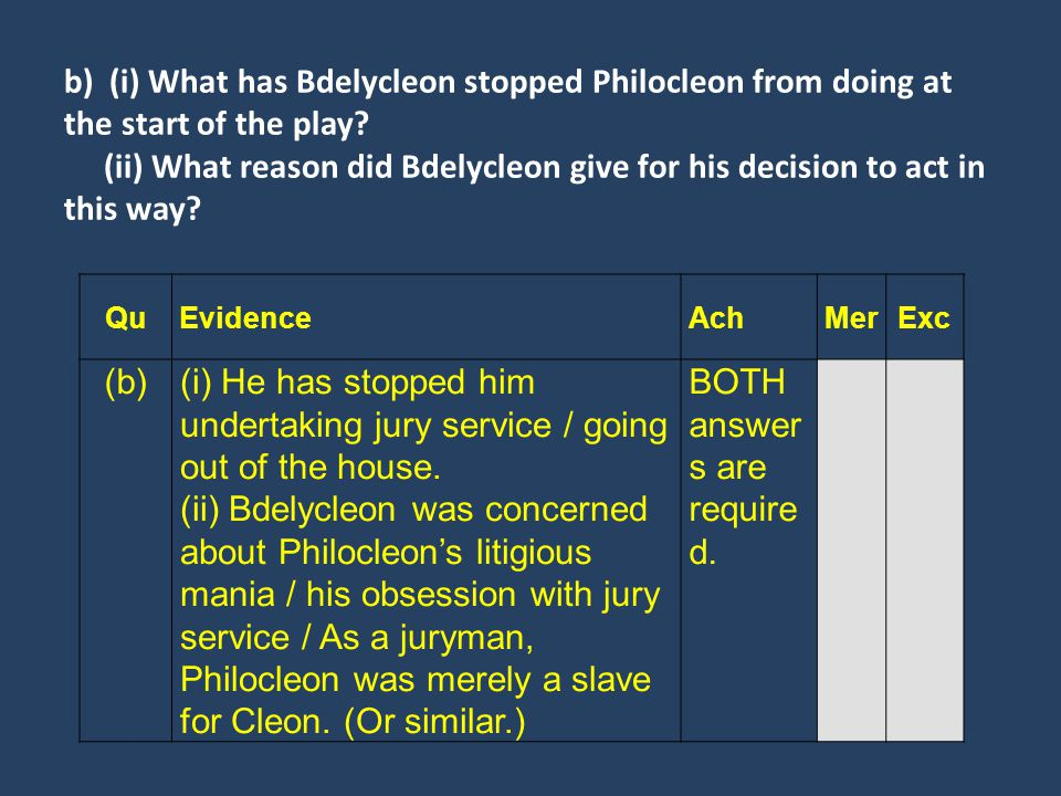 b) (i) What has Bdelycleon stopped Philocleon from doing at the start of the play? (ii) What reason did Bdelycleon give for his decision to act in thi