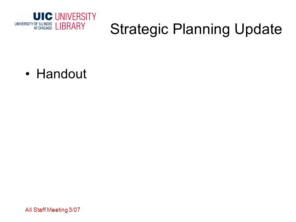 Strategic Planning Update Handout