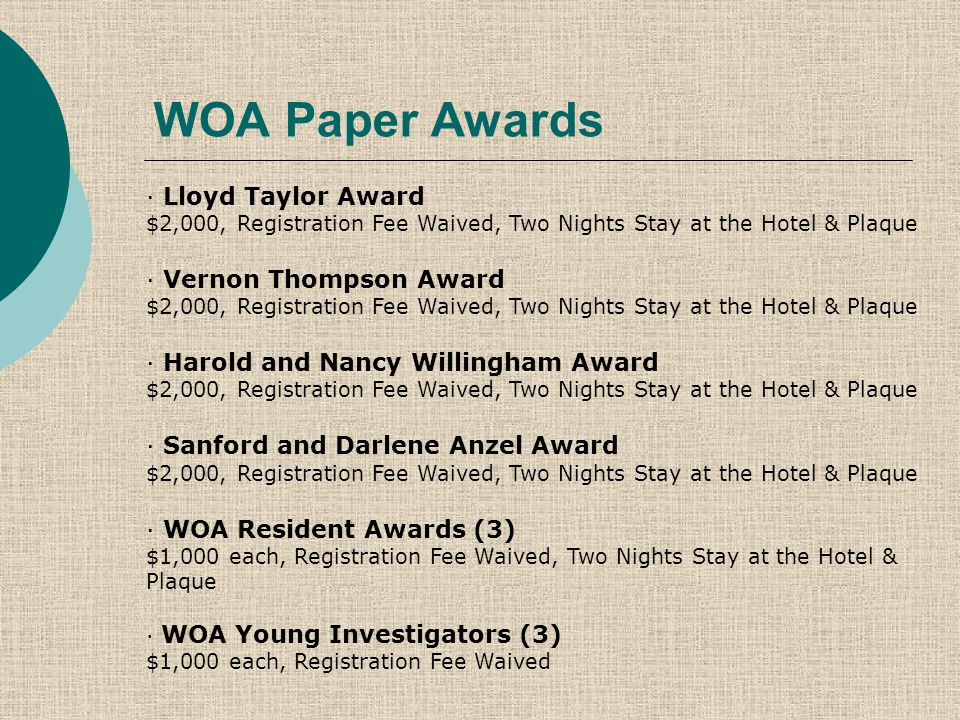 WOA Paper Awards · Lloyd Taylor Award $2,000, Registration Fee Waived, Two Nights Stay at the Hotel & Plaque · Vernon Thompson Award $2,000, Registration Fee Waived, Two Nights Stay at the Hotel & Plaque · Harold and Nancy Willingham Award $2,000, Registration Fee Waived, Two Nights Stay at the Hotel & Plaque · Sanford and Darlene Anzel Award $2,000, Registration Fee Waived, Two Nights Stay at the Hotel & Plaque · WOA Resident Awards (3) $1,000 each, Registration Fee Waived, Two Nights Stay at the Hotel & Plaque · WOA Young Investigators (3) $1,000 each, Registration Fee Waived