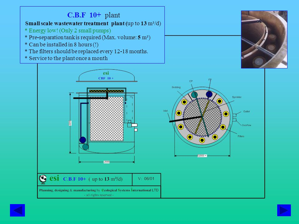C.B.F 10+ plant Small scale wastewater treatment plant (up to 13 m³/d) * Energy low.