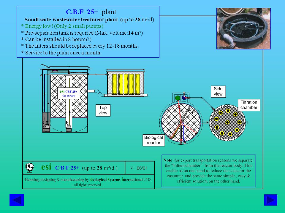 C.B.F 25+ plant Small scale wastewater treatment plant (up to 28 m³/d) * Energy low.