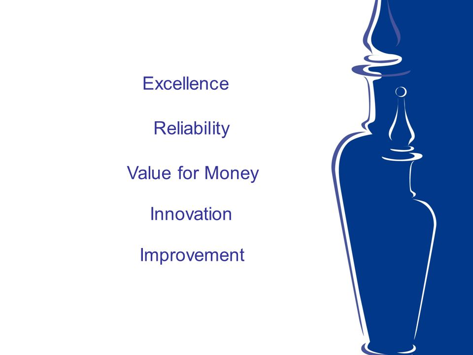 Excellence Reliability Value for Money Innovation Improvement
