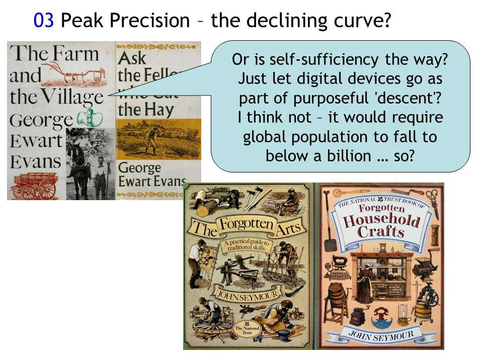 03 Peak Precision – the declining curve. Or is self-sufficiency the way.