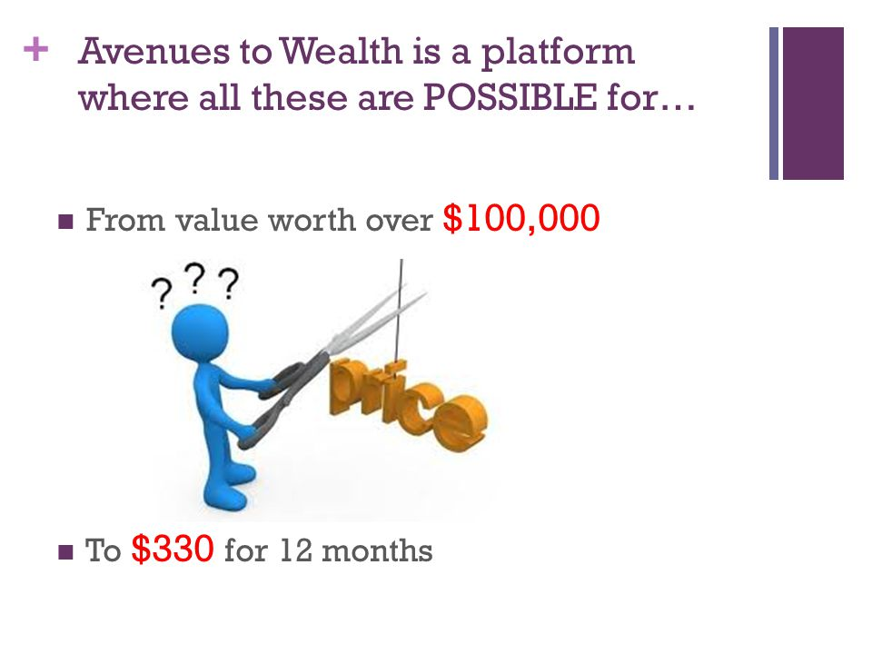 + Avenues to Wealth is a platform where all these are POSSIBLE for… From value worth over $100,000 To $330 for 12 months