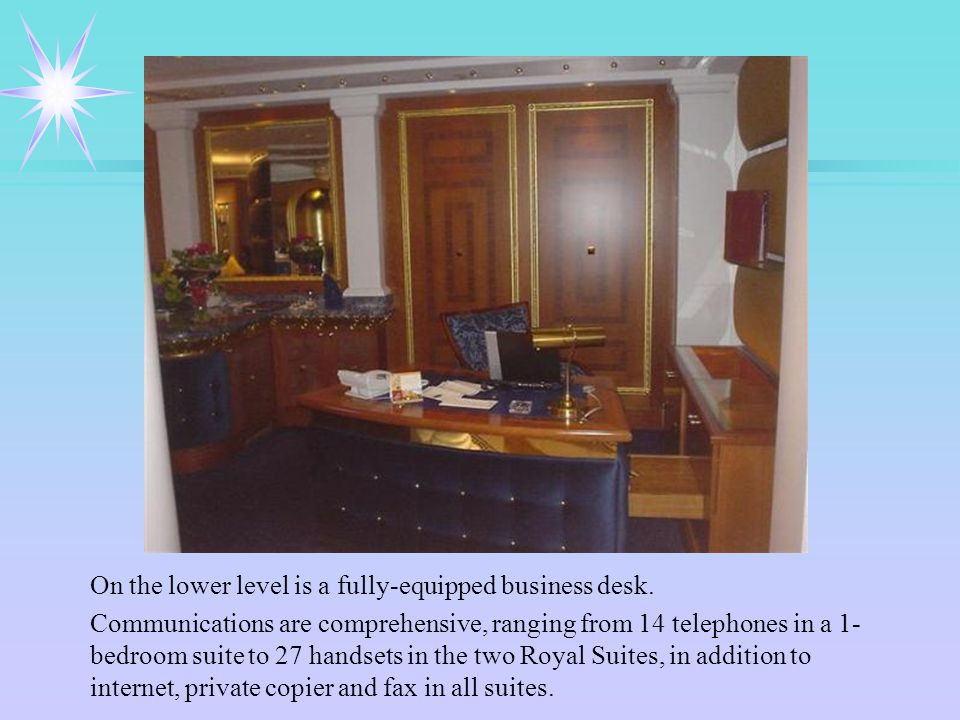 On the lower level is a fully-equipped business desk.