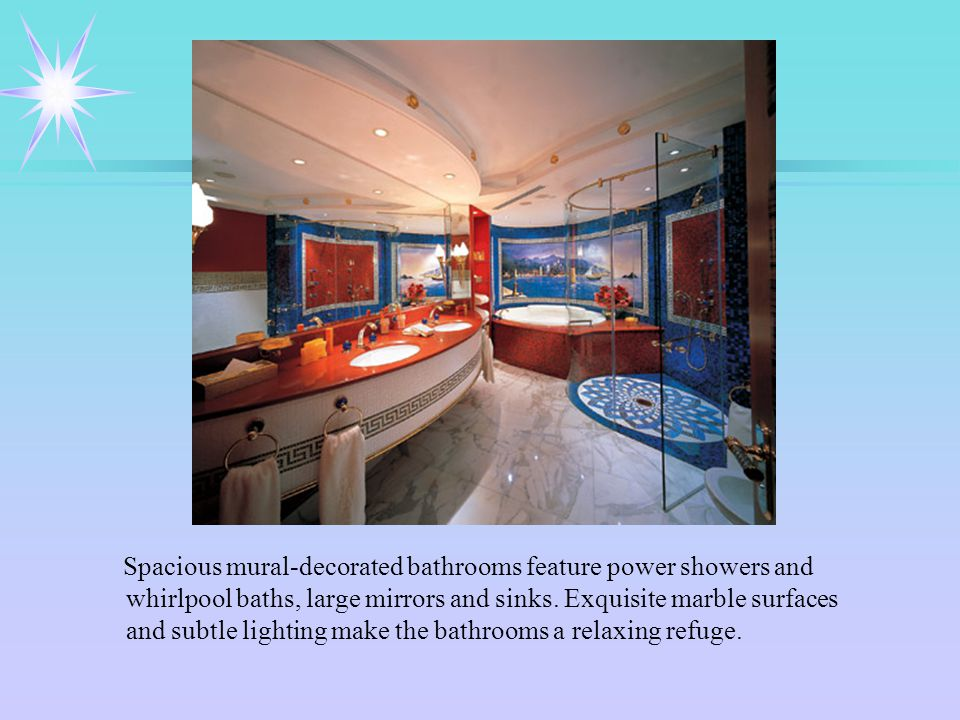 Spacious mural-decorated bathrooms feature power showers and whirlpool baths, large mirrors and sinks.
