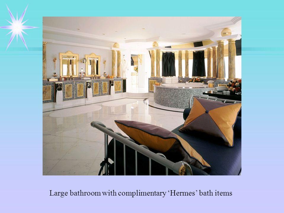 Large bathroom with complimentary 'Hermes' bath items