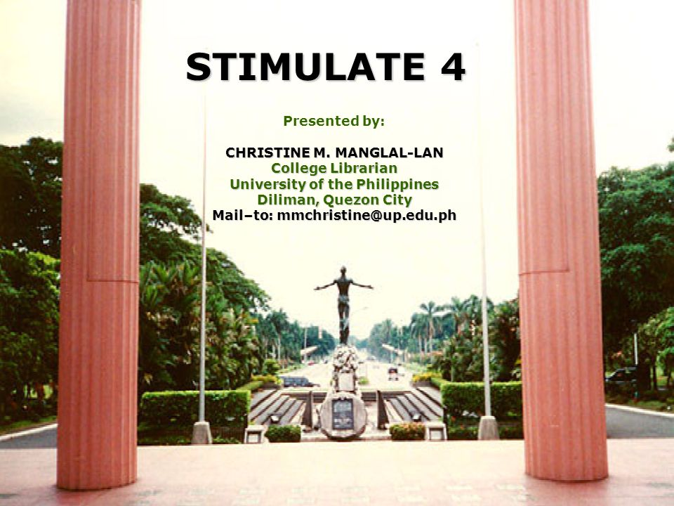 - stimulate 4 - Christine 12.07.04 Course Contents Information and communication technology for information centers and libraries Information sources Information storage and retrieval Web technology and applications Management in information centers and libraries