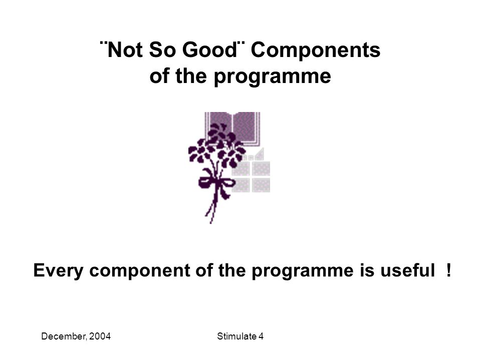 December, 2004Stimulate 4 ¨Not So Good¨ Components of the programme Every component of the programme is useful !