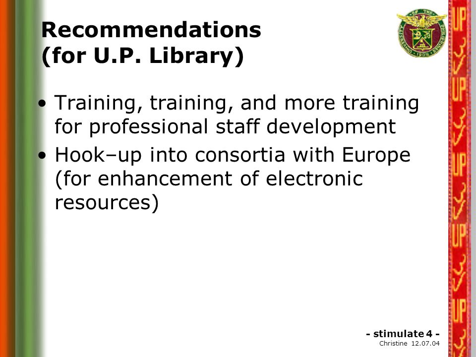 Recommendations...2 To the Host Institution- IIITM-K To Adopt more ICT Technologies for Information Services, including Library Automation.