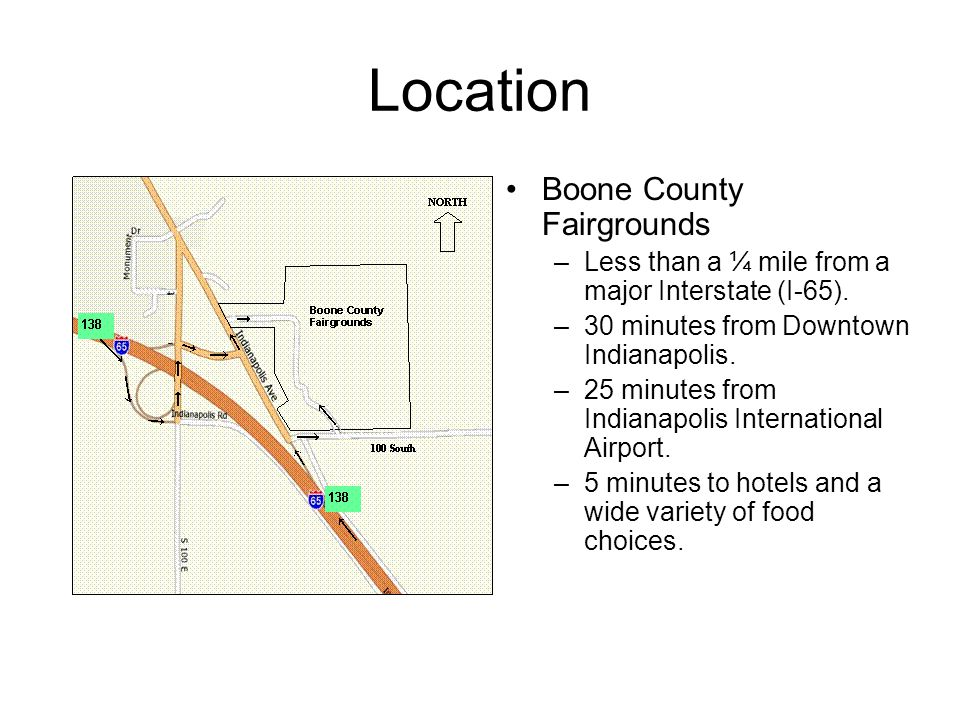 Location Boone County Fairgrounds –Less than a ¼ mile from a major Interstate (I-65).