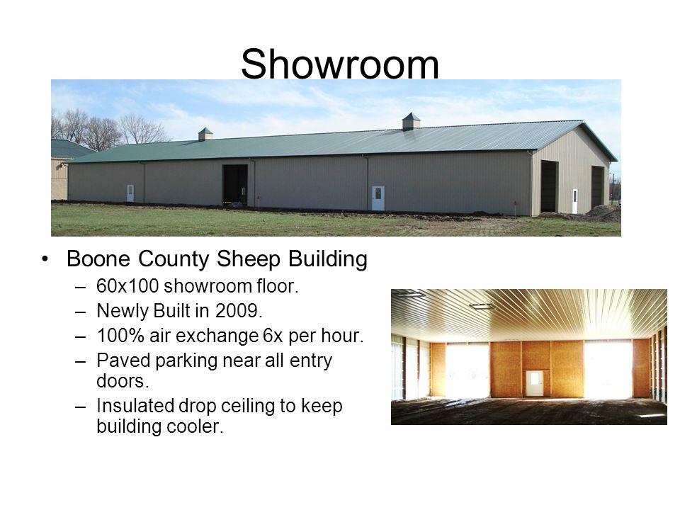 Showroom Boone County Sheep Building –60x100 showroom floor.