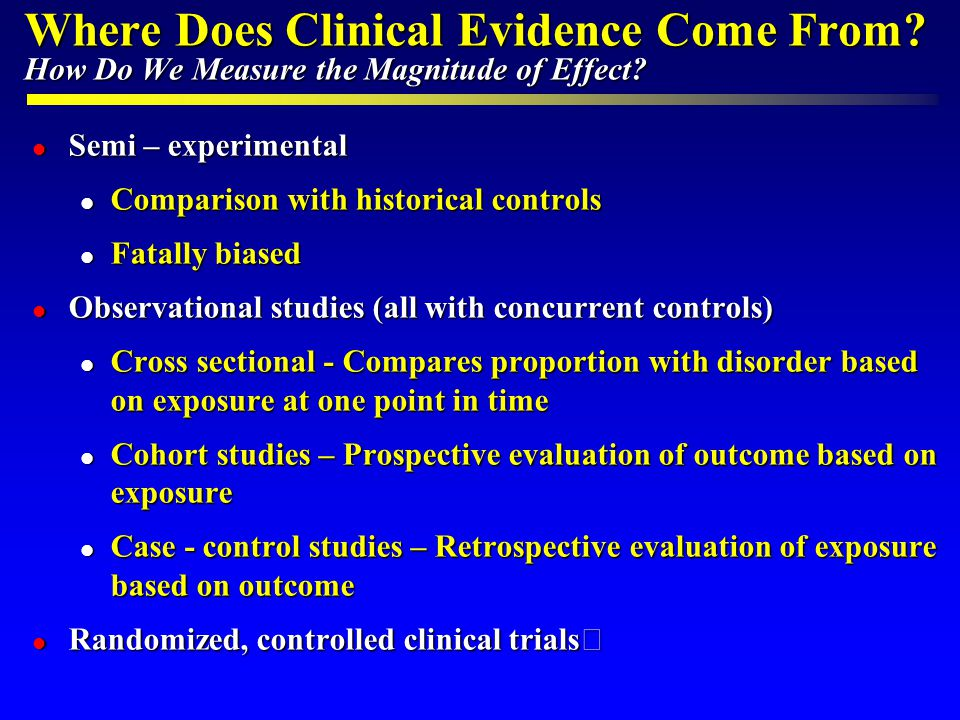 Determinants of Evidence Quality DeterminantDefinitionQualityBias Treatment Effect Systematic Review of RCTs HighLowPrecise Randomized Clinical Trials Observational Studies Methodology Cohort Studies Case-Control Studies Case Series Unknown Expert Opinion LowHighUnknown Consistency Directness Similarity of treatment effect across studies Appropriateness of groups and outcomes