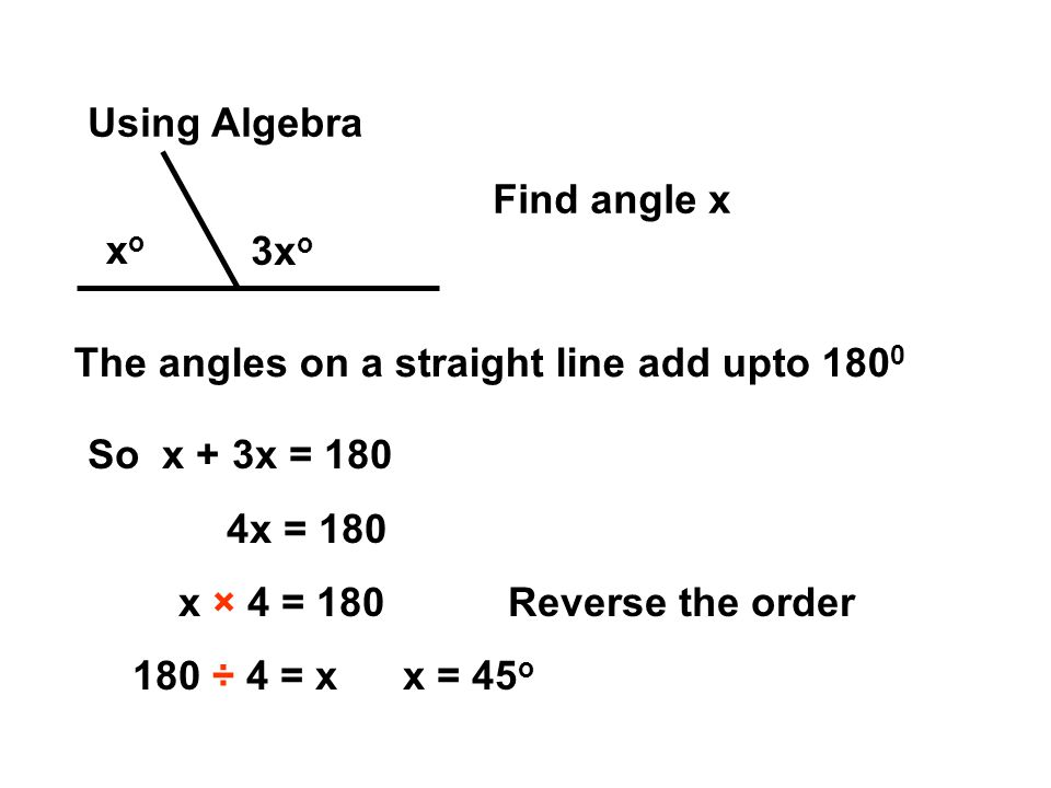 Using Algebra xoxo 3x o Find angle x The angles on a straight line add upto 180 0 So x + 3x = 180 4x = 180 x × 4 = 180Reverse the order 180 ÷ 4 = xx = 45 o